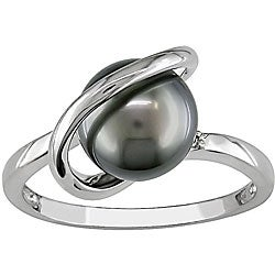 14k Gold Tahitian Pearl and Diamond Ring (8-9 mm)