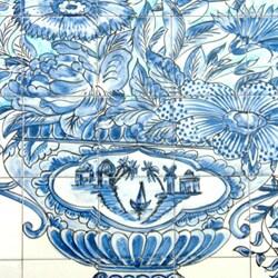Mosaic 'Cobalt Blue' 49-tile Ceramic Wall Mural