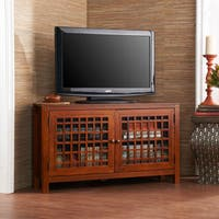 Harper Blvd Hurley Walnut-finish Wood and Glass Corner TV Stand