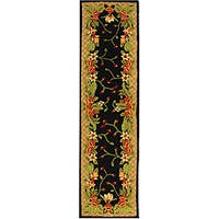Safavieh Handmade Hidden Gardens Black/ Beige Wool Runner Rug