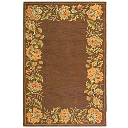 Safavieh Handmade Transitional Floral Brown Wool Rug (7'9 x 9'9)