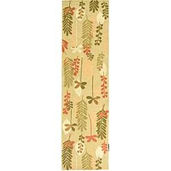 Safavieh Handmade Ferns Contemporary Taupe Wool Runner (2'6 x 12')
