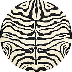 Safavieh Handmade Soho Zebra Ivory/ Black New Zealand Wool Rug (8' Round)