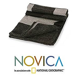 'Nocturnal Geometry' Alpaca Wool Throw Blanket (Peru)