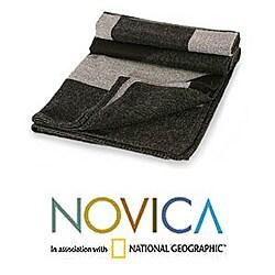 Handmade 'Nocturnal Geometry' Alpaca Wool Throw Blanket (Peru)