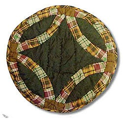 Green/ Plaid Round Placemats (Set of 4)