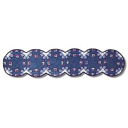 Double Wedding Ring 16x72-inch Blue Table Runner