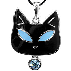 Pewter Tiffany Cat Blue Austrian Crystal Necklace
