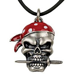 Pewter Pirate Skull with Dagger Necklace