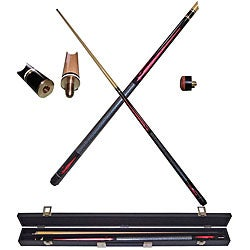 Red Royal Flush 2 Piece Pool Stick with Case Billiard Cue has Replaceable Tip