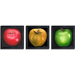 Nelly Arenas 'Apples' Framed Canvas Art 3-piece Set - Thumbnail 0