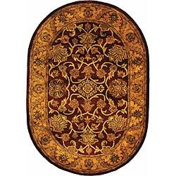 Safavieh Handmade Golden Jaipur Burgundy/ Gold Wool Rug (4'6 x 6'6 Oval)