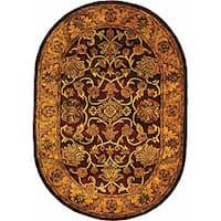 "Safavieh Handmade Golden Jaipur Burgundy/ Gold Wool Rug - 4'6"" x 6'6"" oval"