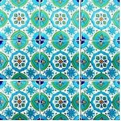 Fatima Blue Design Accent Ceramic Tiles (Set of 9)