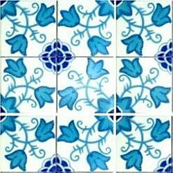 Flowery Turquoise Design Accent Ceramic Tiles