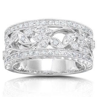 Annello by Kobelli 14k White Gold 1/4ct TDW Round Diamond Vintage Floral Miligrain Anniversary Ring
