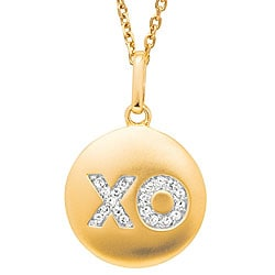 14k Gold 1/10ct TDW Diamond XO Disc Necklace