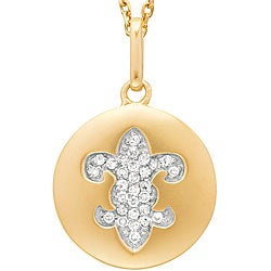 14k Yellow Gold .15ct Diamond Fleur De Lis Disc Pendant