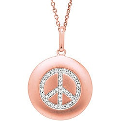 14k Rose Gold 1/6ct TDW Diamond Peace Sign Necklace