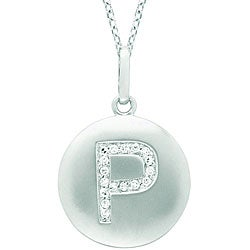 14k White Gold Diamond Initial 'P' Disc Necklace