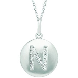 14k White Gold Diamond Initial 'N' Disc Necklace