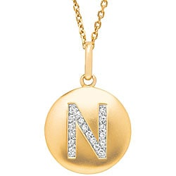 14k Yellow Gold 1/20 to 1/10ct TDW Diamond Initial N Disc Pendant (G-H, I1)