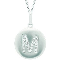 14k White Gold Diamond Initial 'M' Disc Necklace