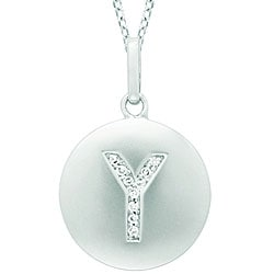14k White Gold Diamond Initial 'Y' Disc Necklace