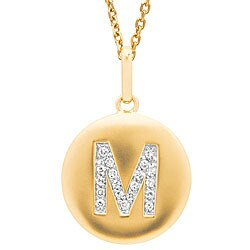 14k Yellow Gold 1/20 to 1/10ct Diamond Initial M Disc Pendant