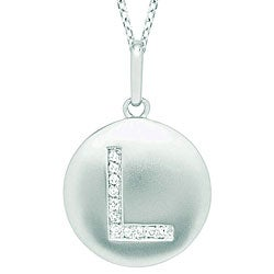 14k White Gold Diamond Initial 'L' Disc Necklace