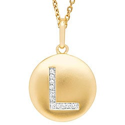 14k Yellow Gold 1/20 to 1/10ct Diamond Initial L Disc Pendant