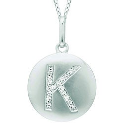 14k White Gold Diamond Initial 'K' Disc Necklace