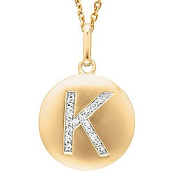 14k Yellow Gold Diamond Initial 'K' Disc Necklace