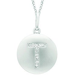 14k White Gold Diamond Initial 'T' Disc Necklace