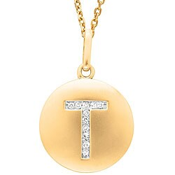 14k Yellow Gold Diamond Initial 'T' Disc Necklace