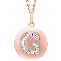 14k Rose Gold Diamond Initial 'G' Disc Necklace