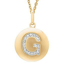 14k Yellow Gold Diamond Initial 'G' Disc Necklace