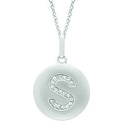 14k White Gold Diamond Initial 'S' Disc Necklace