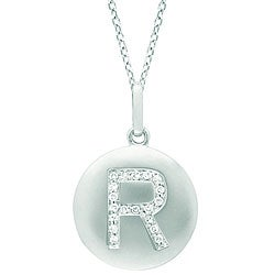14k White Gold Diamond Initial 'R' Disc Necklace