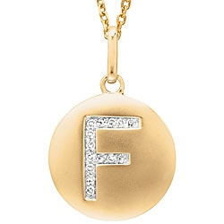 14k Yellow Gold Diamond Initial 'F' Disc Necklace