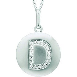 14k White Gold 1/20 to 1/10ct Diamond Initial D Disc Pendant