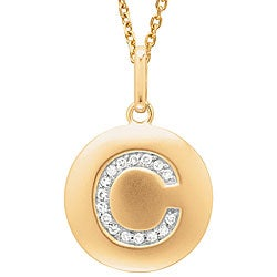 14k Yellow Gold Diamond Initial 'C' Disc Necklace