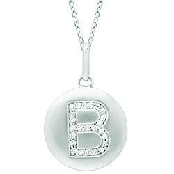 14k White Gold Diamond Initial 'B' Disc Necklace