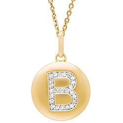 14k Yellow Gold Diamond Initial 'B' Disc Necklace