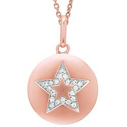 14k Rose Gold 1/10ct TDW Diamond Star Disc Necklace