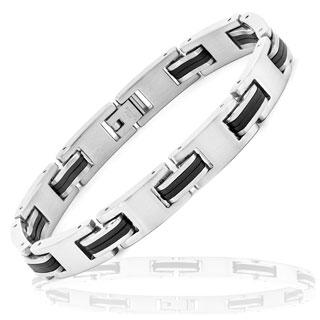 Stainless Steel Men's Black Rubber Accent Bracelet