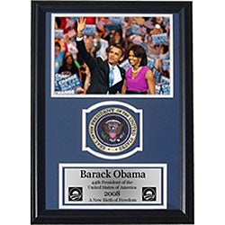 Obama and Michelle 12x18 Framed Print Patch