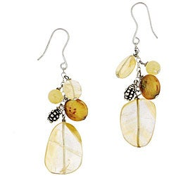 Glitzy Rocks Sterling Silver Honey Jade and Coin Pearl Earrings (9 mm)