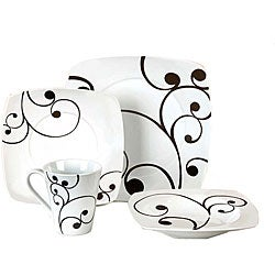 shop studio black and white 16 piece dinnerware set free shipping today 3678836. Black Bedroom Furniture Sets. Home Design Ideas