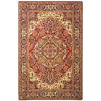 Safavieh Handmade Classic Heriz Red/ Navy Wool Rug - 6' x 9'